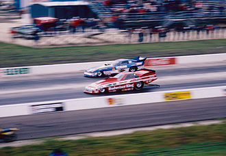 Raymond Beadle - Beadle's funny car (rear), driven by Tom McEwen in 1987, facing off against Kenny Bernstein