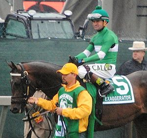 Kent Desormeaux - Kent Desormeaux on Exaggerator prior to the 2016 Preakness