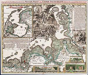 Christmas Flood of 1717 - Geographical presentation by Johann Baptist Homann (1663-1724)