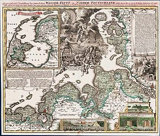 Christmas Flood of 1717 - Geographical presentation by Johann Baptist Homann (1663-1724)