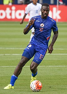 Kevin Lafrance playing for Haiti's Men's National Team against Honduras in the Gold Cup, Sporting Park, Kansas City, Kansas, 13JUL2015.jpg