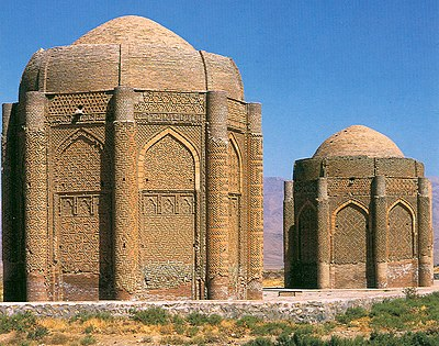 The Kharaghan twin towers, built in 1067, Persia, contain tombs of Seljuq princes. Kharaghan.jpg