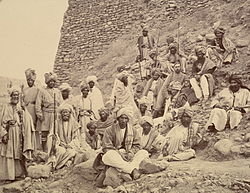 Afghan chiefs and a British Political Officer posed at Jamrud fort at the mouth of the Khyber Pass in 1878.