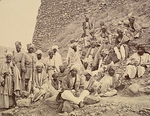 Jamrud - Pashtun chiefs and a British Political Officer posed at Jamrud fort at the mouth of the Khyber Pass in 1878.