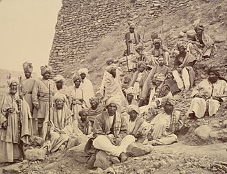 Khyber Pass - Afghan chiefs and a British political officer posed at Jamrud Fort at the mouth of the Khyber Pass in 1878.