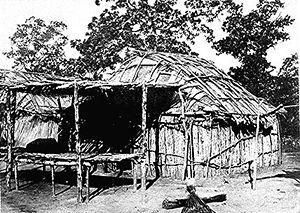 Kickapoo people - A Kickapoo wickiup, Sac and Fox Agency, Oklahoma, ca. 1880.