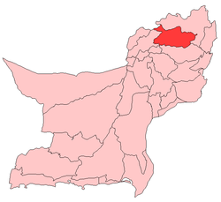 Map of Balochistan with Killa Saifullah District highlighted