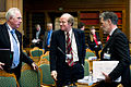 Kimmo Sasi, Nordiska radets nyvalda president grattuleras av Halldor Asgrimsson, generalsekreterare Nordiska ministerradet och Jan-Erik Enestam, Nordiska radets radsdirektor.jpg