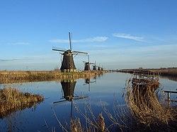 Panoramic view of windmills at Kinderdijk.