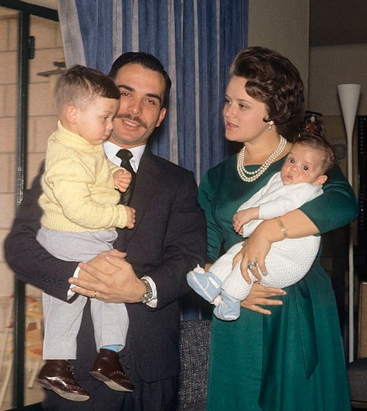 King Hussein and Princess Muna with sons 1964