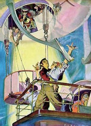 Aerial Board of Control - Rescue by a Planet dirigible liner, under supervision of A.B.C. North Banks Mark Boat (from With the Night Mail)