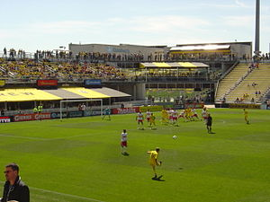 Kirk Urso - Urso takes a free kick for the Crew against the Red Bulls – April 7, 2012