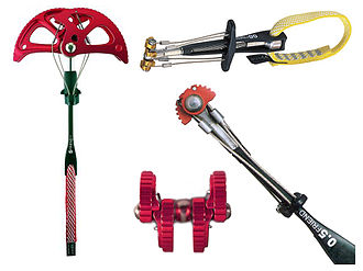 Spring-loaded camming device - A selection of spring-loaded camming devices of differing sizes.