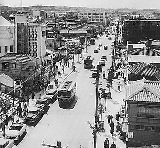 Naha - Kokusai Dori, International Main Street in Naha, 1950s