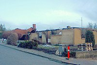 Abgebrannte Häuser nach dem Feuerwerksfabrik-Unfall in Kolding-Seest