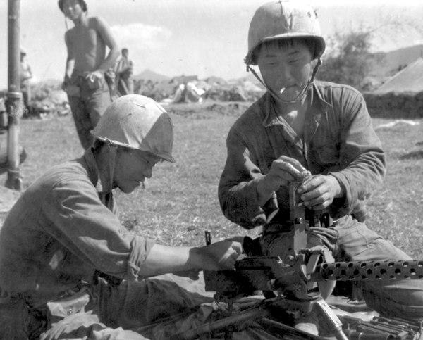 Korean Marines prepare defensive positions near Tuy Hoa