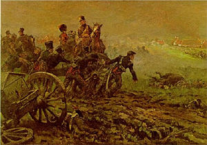 Cavalié Mercer - Krahmer's Dutch-Belgian horse artillery battery at Waterloo. Mercer's Troop was on the same section of the ridge in the picture. 1905 painting by J. Hoynck van Papendrecht.
