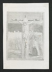 Crucifixion with a beguine kneeling behind it