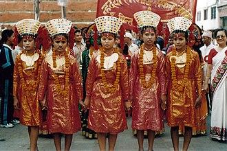 Nepal Sambat - Actors dressed up as Kumari vestal virgins take part in New Year's Day parade in Kathmandu.