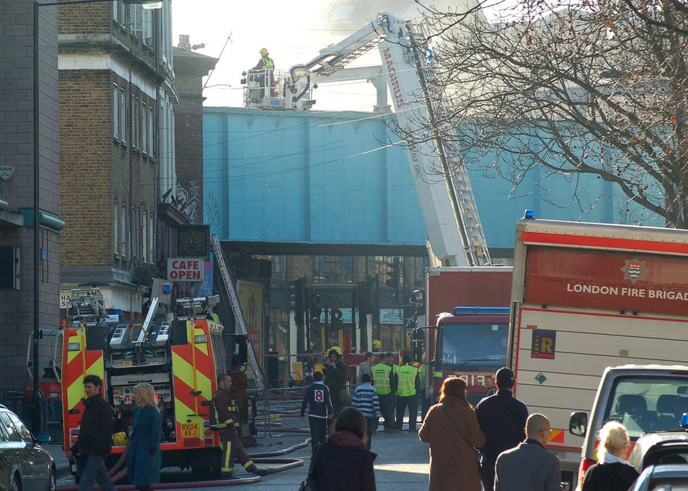 LFB dampening down after blaze