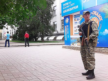 Luhansk People's Militia member in June 2014 LPR fighter in Luhansk 2.jpg