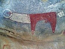 Un esempio di pittura rupestre del complesso di Laas Gaal.