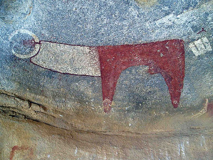 Neolithic rock art at the Laas Geel complex depicting a long-horned cow. Laas Geel single cow.jpg