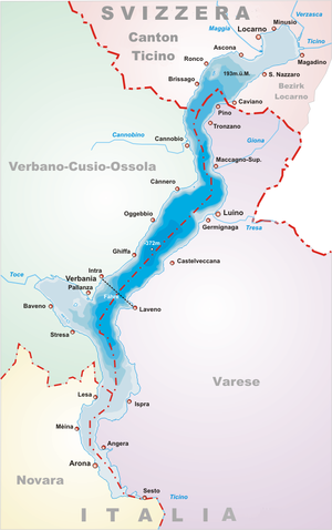 Map of Lake Maggiore with Italian place names