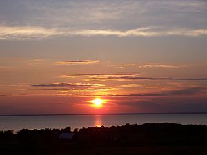Lake Winnebago - Sunset over Lake Winnebago, seen from the Niagara Escarpment on the East shore