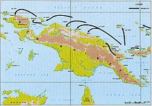 Carte topographique de l'île de Nouvelle-Guinée avec des flèches indiquant l'avancée alliées le long de la côte nord.