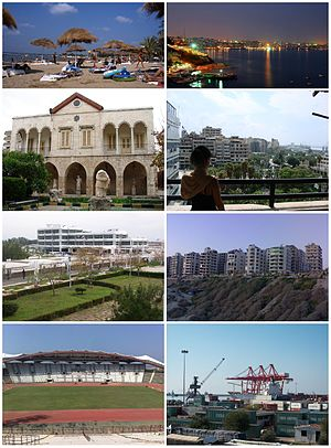 Latakia Cote d'Azur beach • Latakia skylineMuseum of Latakia • Downtown LatakiaTishreen University • Latakia CornicheLatakia Sports City Stadium • Port of Latakia