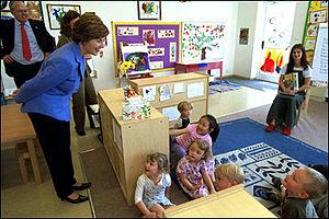 Laura Bush visits the International School of Prague, May 22, 2002..jpg