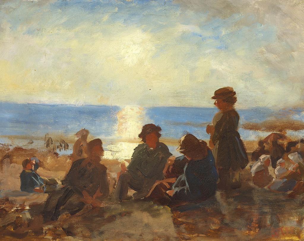 Laurits Tuxen - Fiskere pе stranden. Bretagne - 1875.png