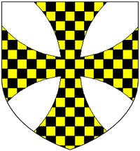 Arms of Lawley: Argent, a cross formee extended to the extremes of the shield chequy or and sable LawleyArms.PNG