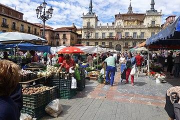 León. Mercado en la plaza