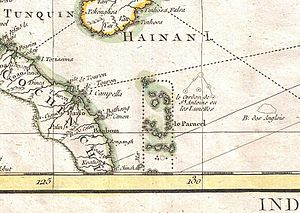 "Placer (geography) - ""Le Paracel"" off the coast of Vietnam in a 1771 Rigobert Bonne Map of Tonkin, China, Formosa and Luzon"