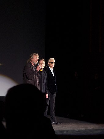Led Zeppelin answering questions at the film premiere of Celebration Day at the Hammersmith Apollo in London, October 2012 Led Zeppelin answering questions, 2012.jpg