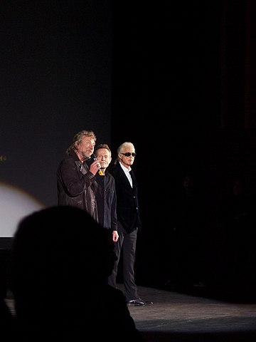 Led Zeppelin answering questions at a press conference for the premiere of Celebration Day at the Hammersmith Apollo in 2012 Led Zeppelin answering questions, 2012.jpg