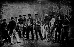Willie Dunn Sr. - Dunn (fifth from right) at Leith Links in 1867