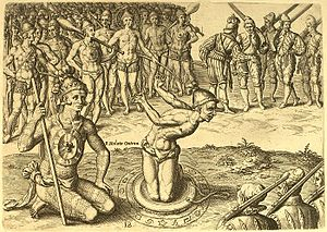 "Agua Dulce people - One of Theodor de Bry's engravings, supposedly based on drawings by Jacques LeMoyne, depicting Chief Utina consulting his ""sorcerer"" before battle"