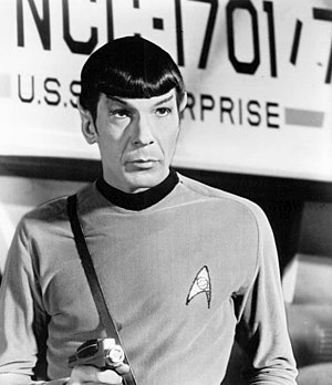 Galileo (Star Trek) - Leonard Nimoy as Spock, standing in front of the Galileo