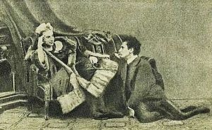 Venus in Furs - Fanny Pistor (in furs, with whip) and Sacher-Masoch