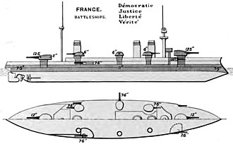 French battleship Liberté - Line-drawing of the Liberté class