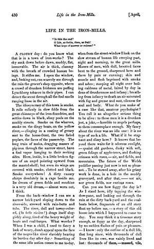 """Rebecca Harding Davis - First page of the novella """"Life in the Iron-Mills"""", as first published in The Atlantic Monthly"""