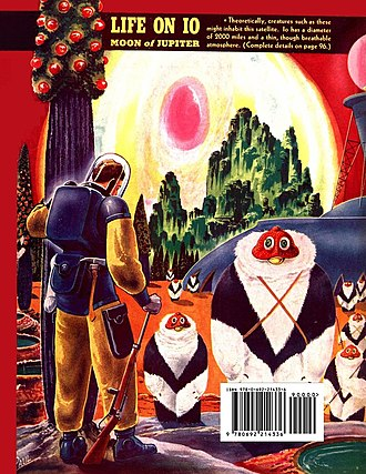 Jupiter's moons in fiction - Back cover illustrations for Fantastic Adventures (May 1940)