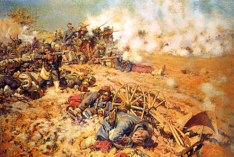 Battle of Mars-la-Tour - La ligne de feu, 16 août 1870 by Pierre-Georges Jeanniot (1886). French infantry at the battle of Mars-la-Tour.