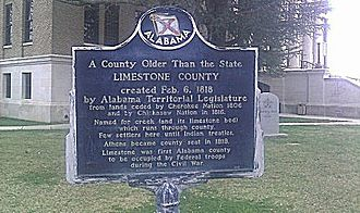 Limestone County, Alabama - Historical marker on the northwest side of the courthouse