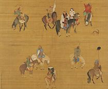 A square painting depicting ten men on horseback. Some of the men are carrying weapons, including one with a drawn bow and one with a spear. In the upper center is Kublai, in a red outfit and a thick white fur with black trim. He is unarmed.
