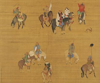 Kublai Khan - Painting of Kublai Khan on a hunting expedition, by Chinese court artist Liu Guandao, c. 1280.