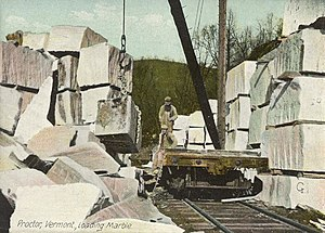 Proctor, Vermont - Loading marble in 1908